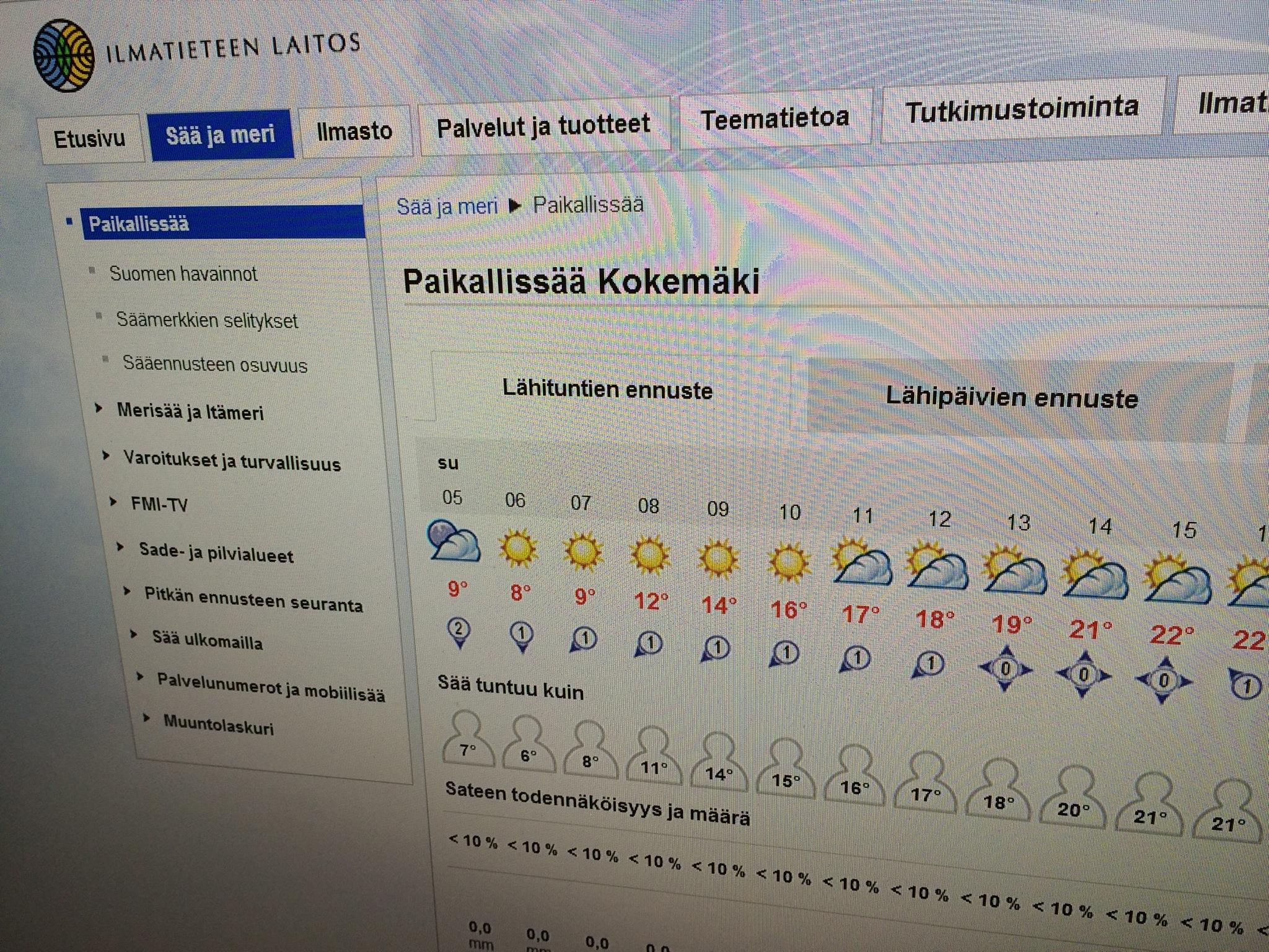 Sunnuntaina Ilmatieteen laitoksen ennuste näyttää pääasiassa aurinkoiselta. Kuva: Tuomas Kuhalainen